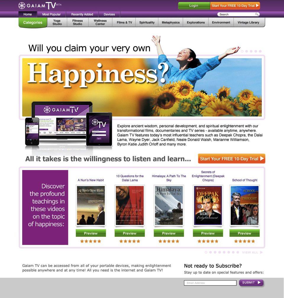 GaiamTV Web Site Layouts