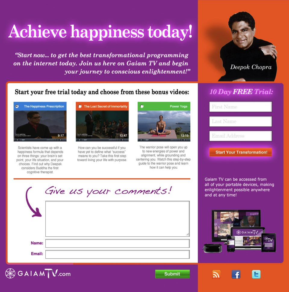 GaiamTV Squeeze Page Designs