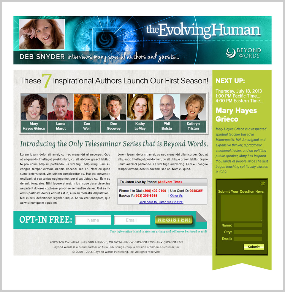 Beyond Words Teleseminar Page Design