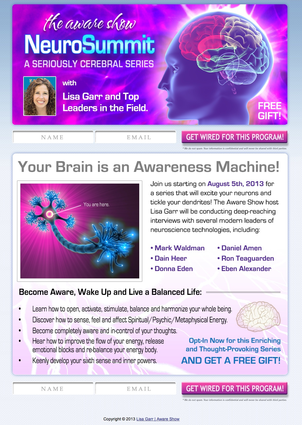 The Aware Show NeuroSummit I Squeeze Page