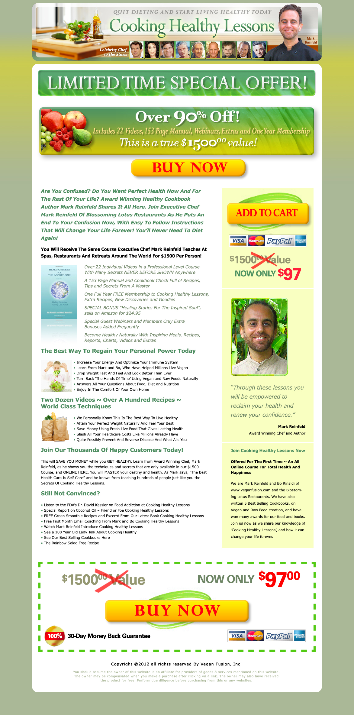 Cooking Health Lessons Squeeze Page