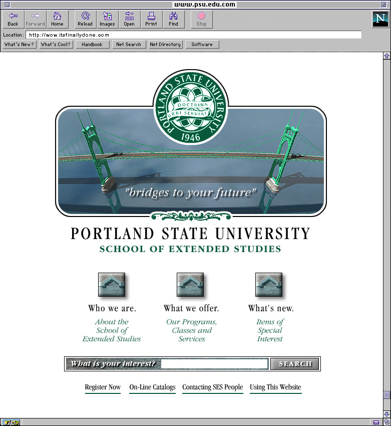 Portland State University School of Extended Studies Web Site Design