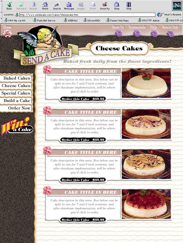 Send-a-Cake Web Site Design