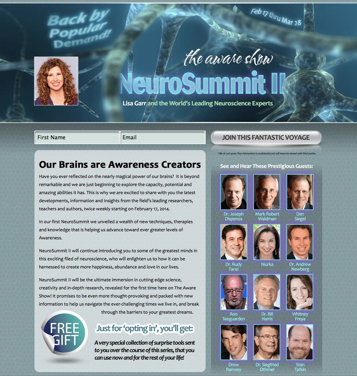 The Aware Show NeuroSummit II Squeeze Pages