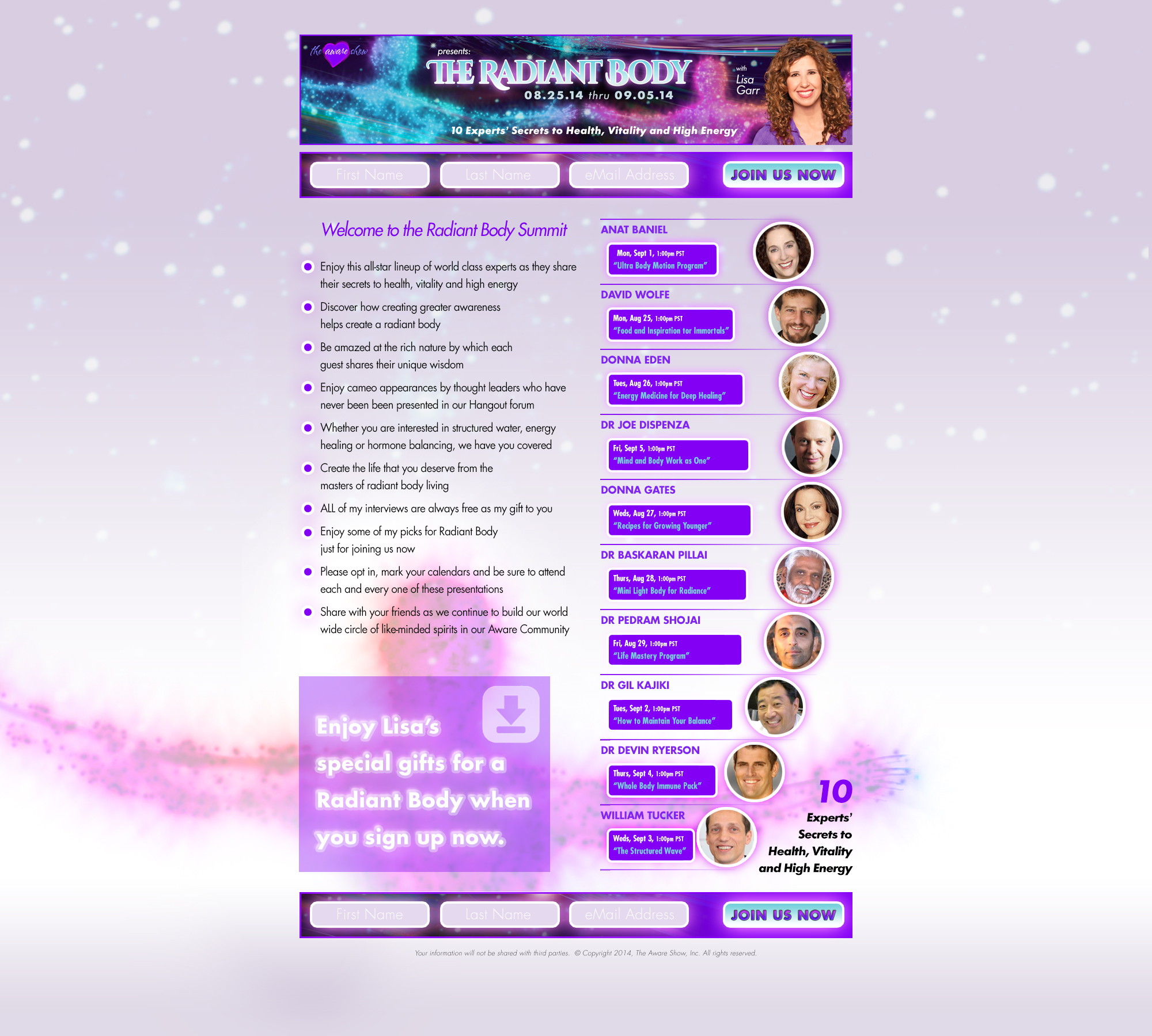 The Aware Show Radiant Body Summit Landing Page