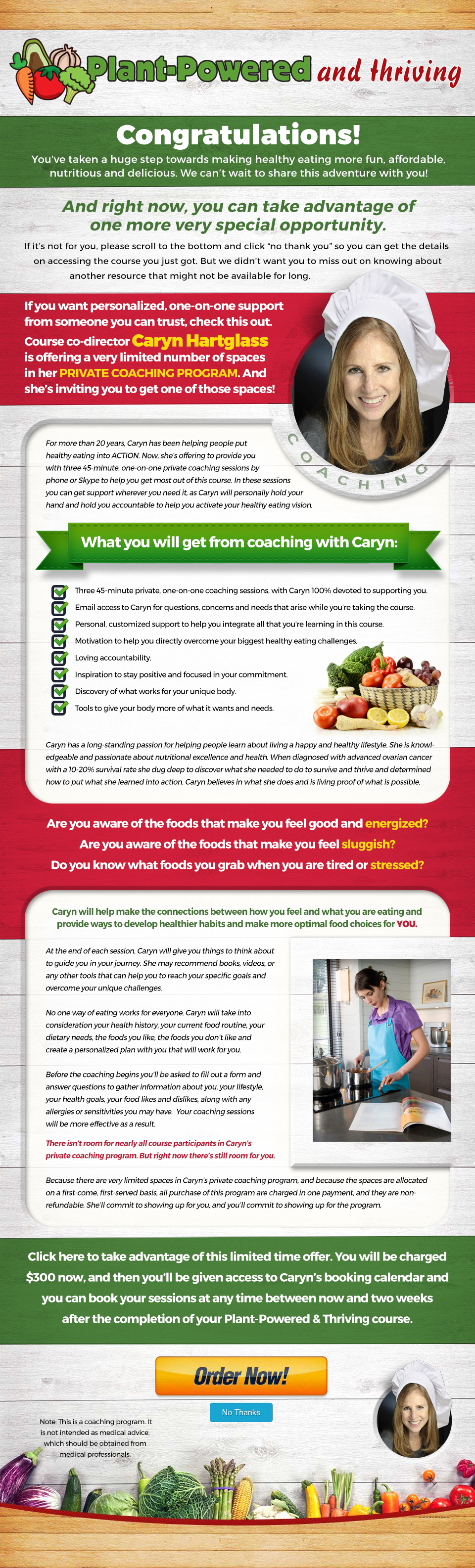 Food Revolution Coaching with Caryn Landing Page
